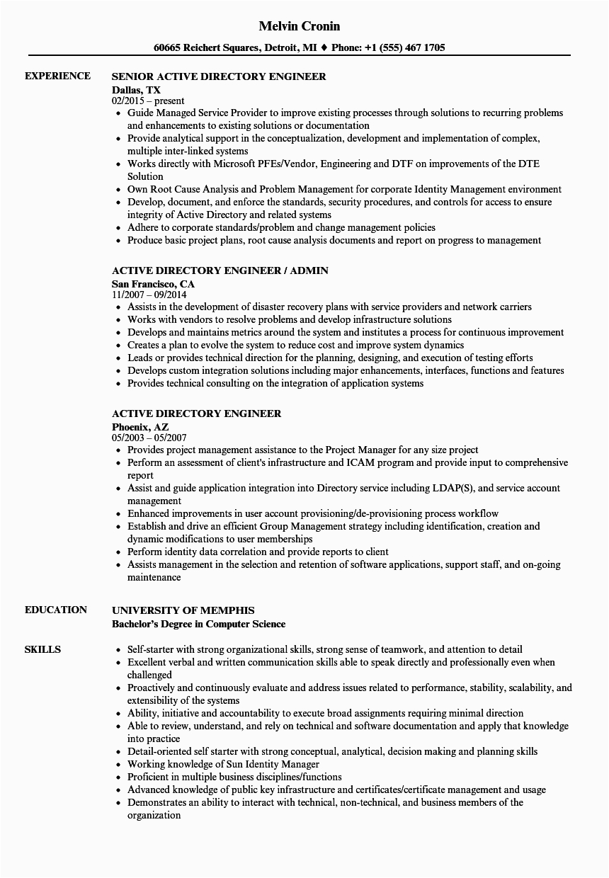 active directory basic resume