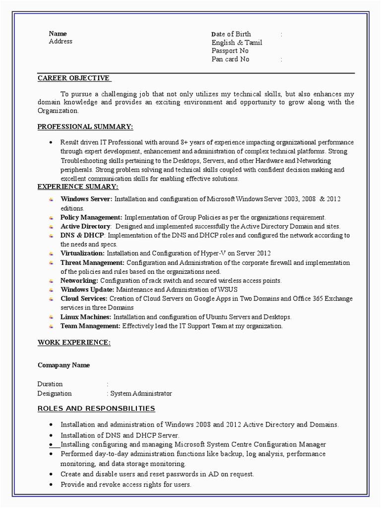 System Admin Resume Format
