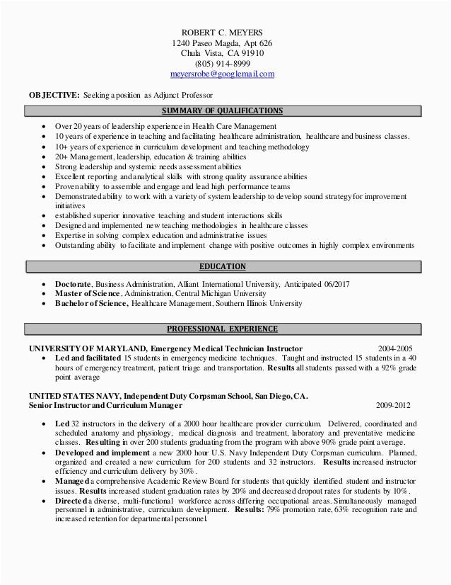 adjunct professor resume