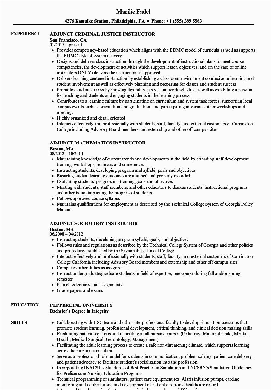 adjunct professor resume sample
