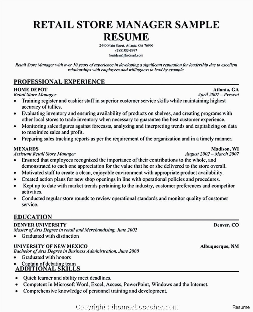 modern retail store manager resume india