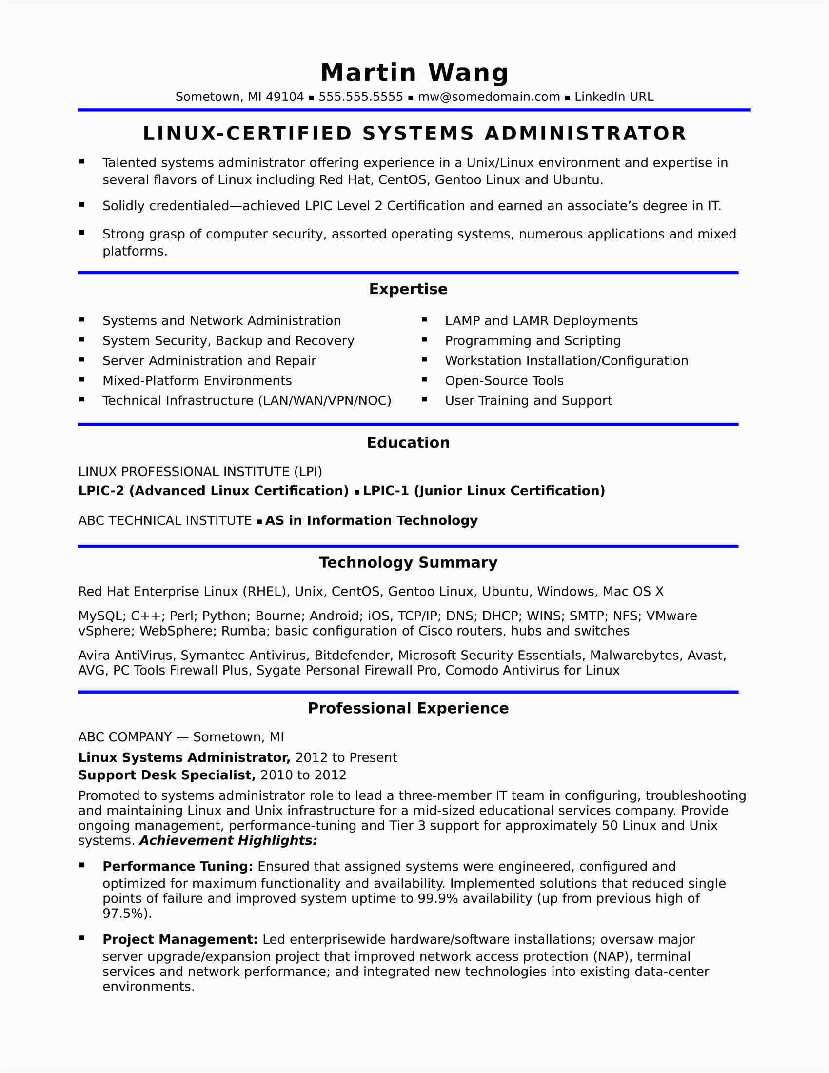 sample resume systems administrator midlevel