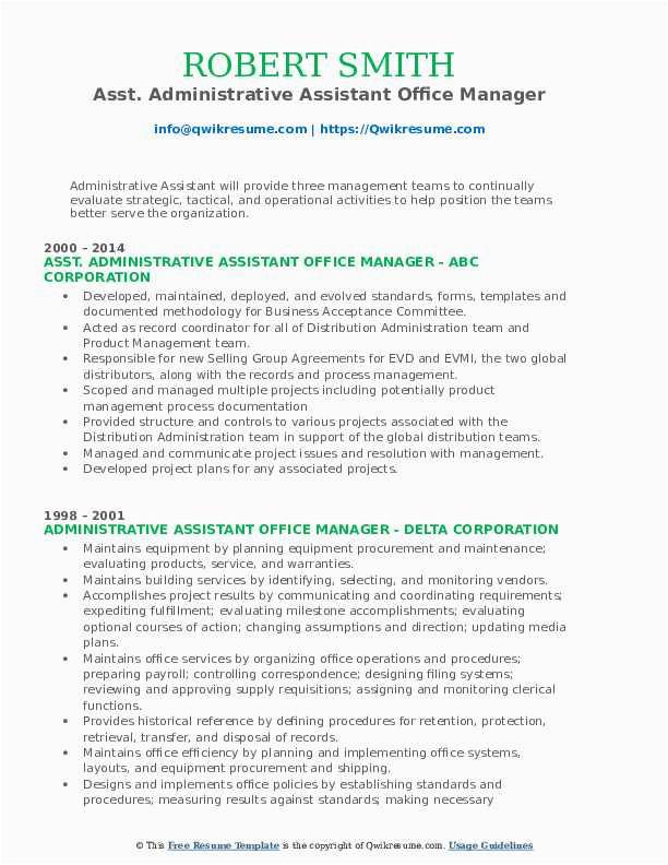 Sample Resume for Administrative assistant Office Manager Administrative assistant Fice Manager Resume Samples