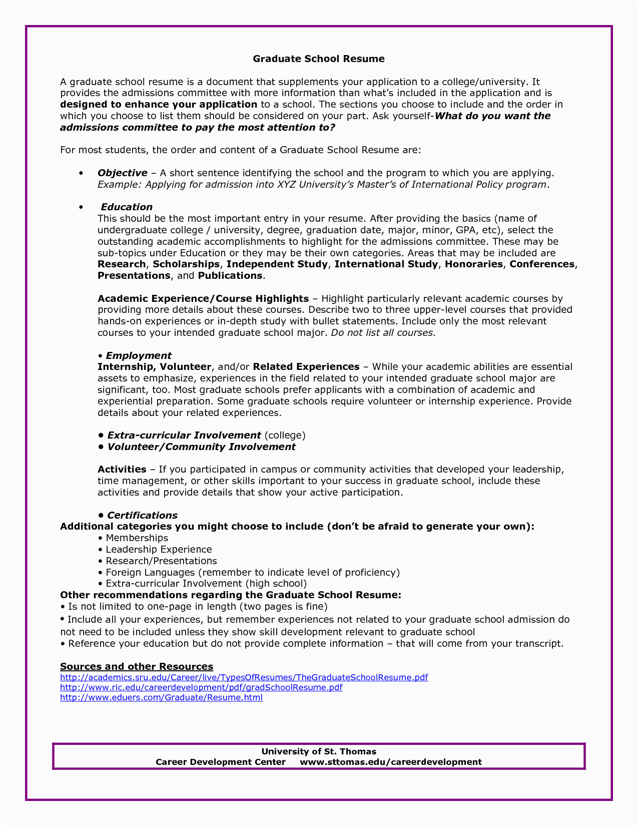 Sample Resume for Admission to Graduate School Graduate School Admissions Resume Sample