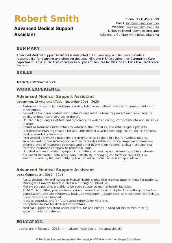 Sample Resume for Advanced Medical Support assistant Advanced Medical Support assistant Resume Samples