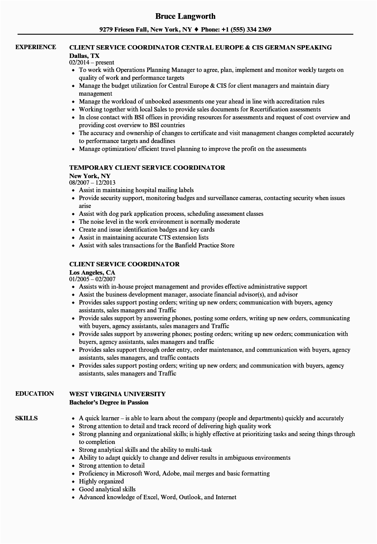 client service coordinator job