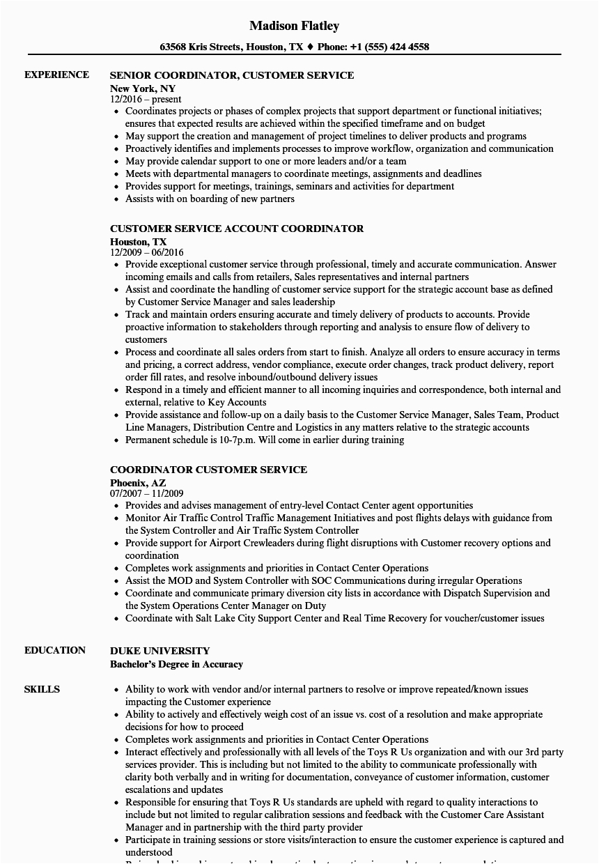 coordinator customer service resume sample
