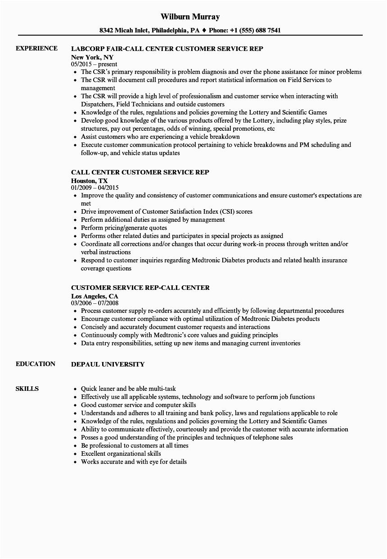call center customer service rep resume sample
