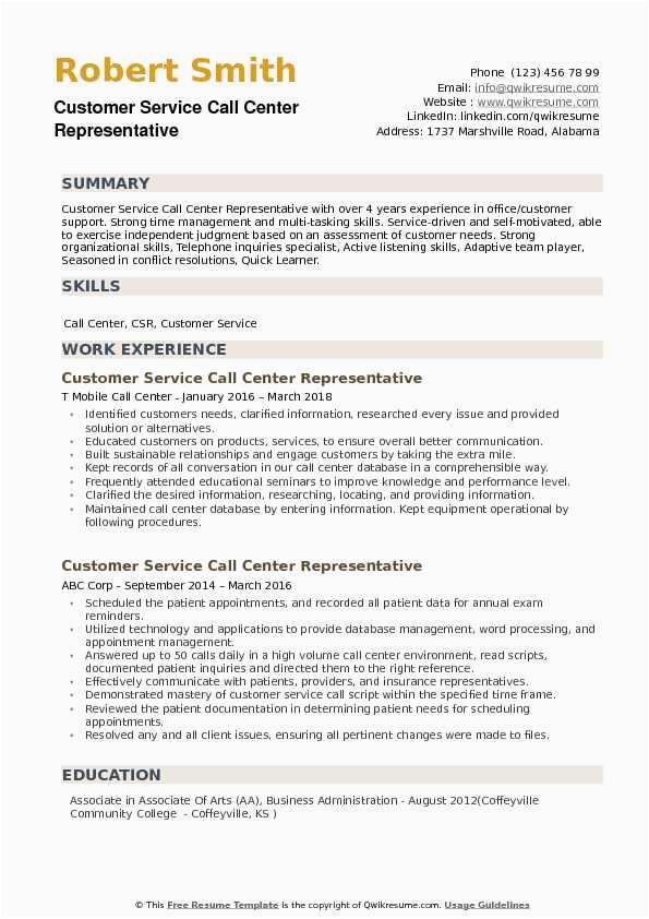 customer service call center representative