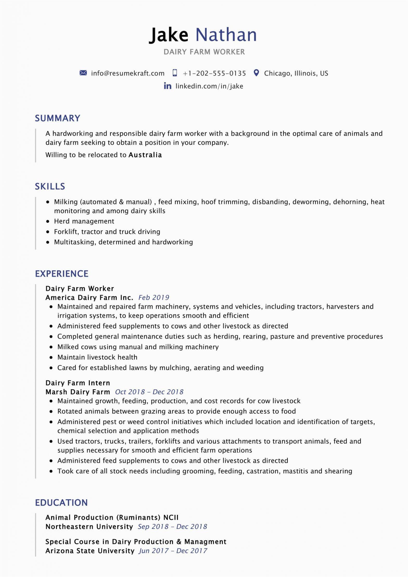 Sample Resume for Dairy Farm Worker Dairy Farm Worker Resume Sample 2021