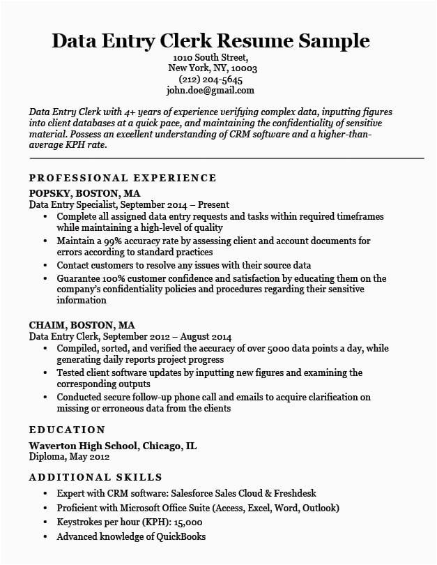 Sample Resume for Data Entry Clerk Position Data Entry Clerk Resume Sample