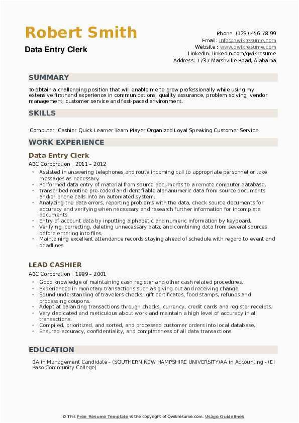 sample resume of data entry clerk