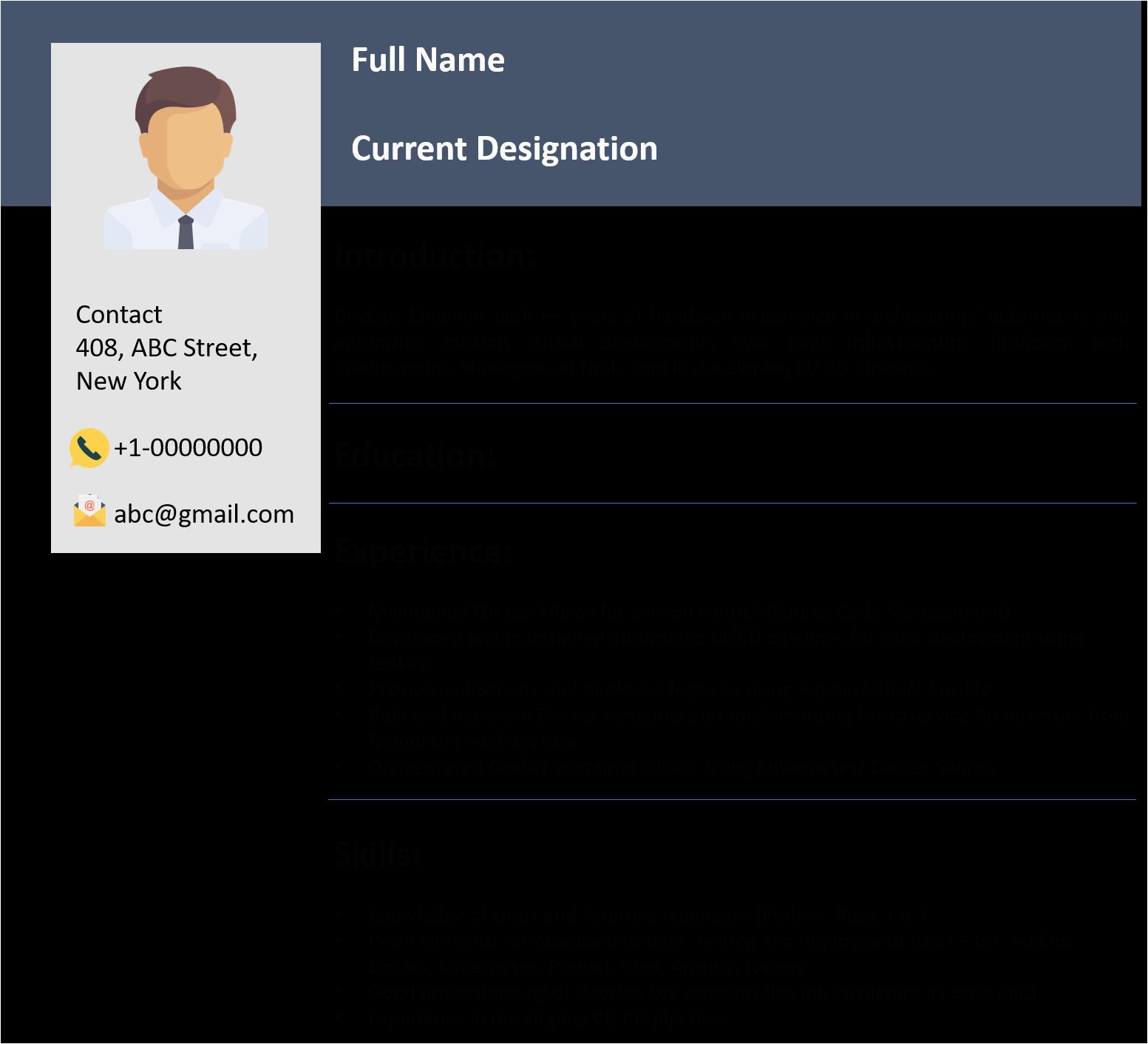 Sample Resume for Devops Engineer Fresher Devops Engineer Resume for Fresher Best Resume Examples