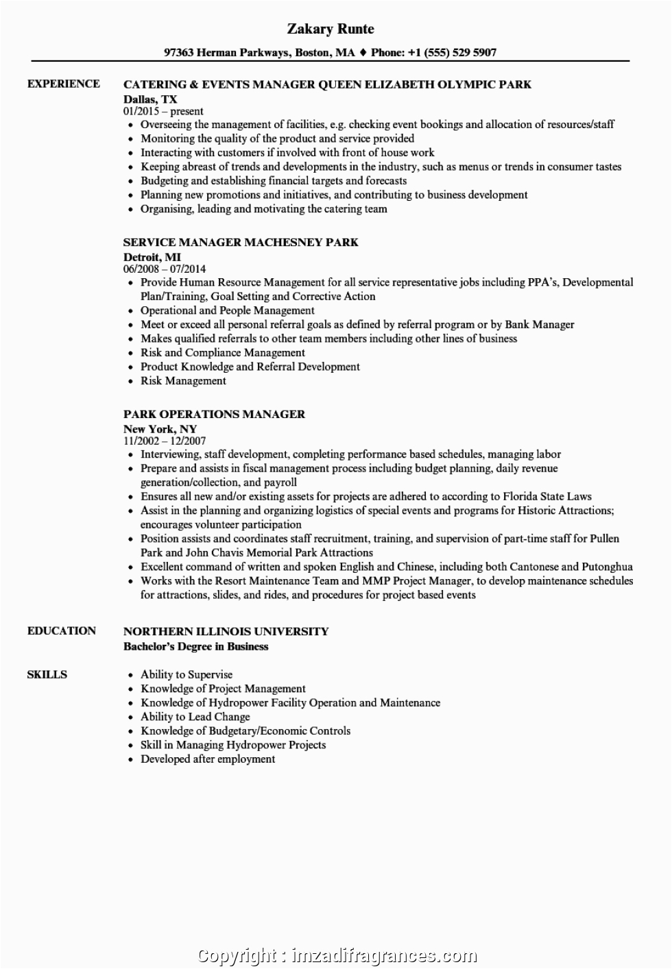 new duty manager resume