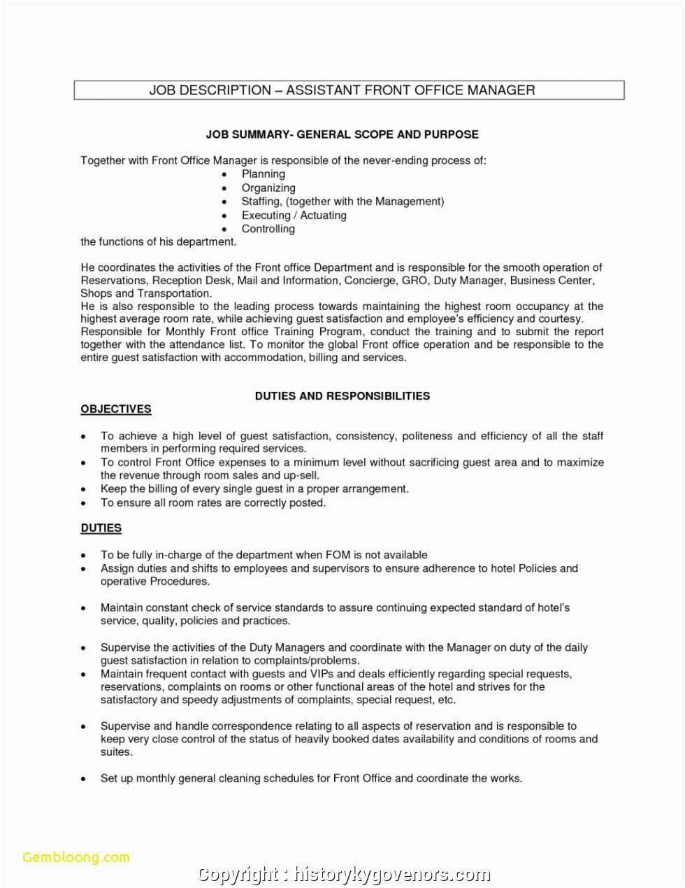 professional front office duty manager resume sample