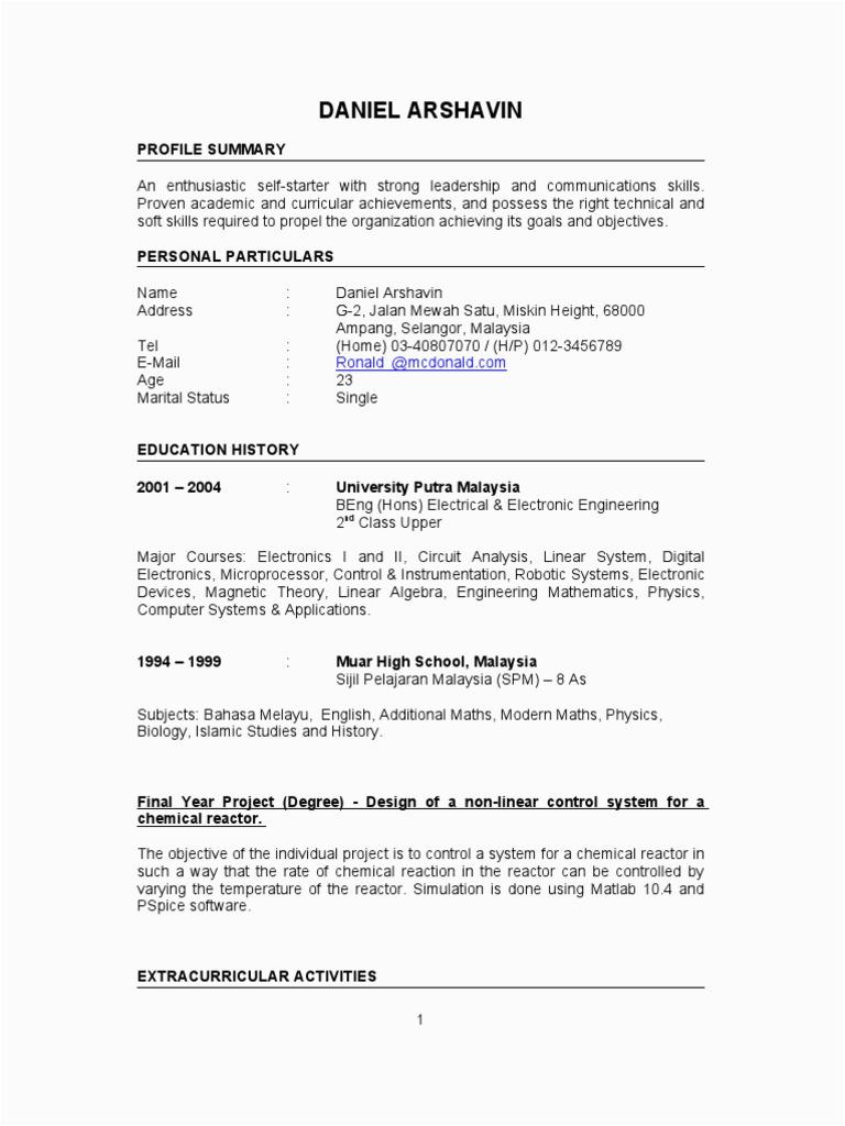 Sample Resume for Electronics Engineer Fresh Graduate Fresh Graduate Resume Sample Electronics