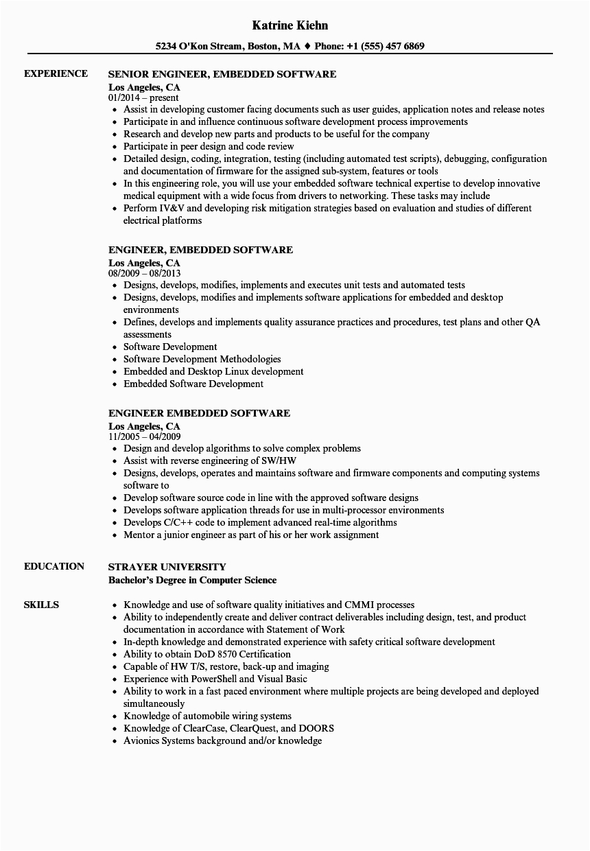 sample resume for embedded software