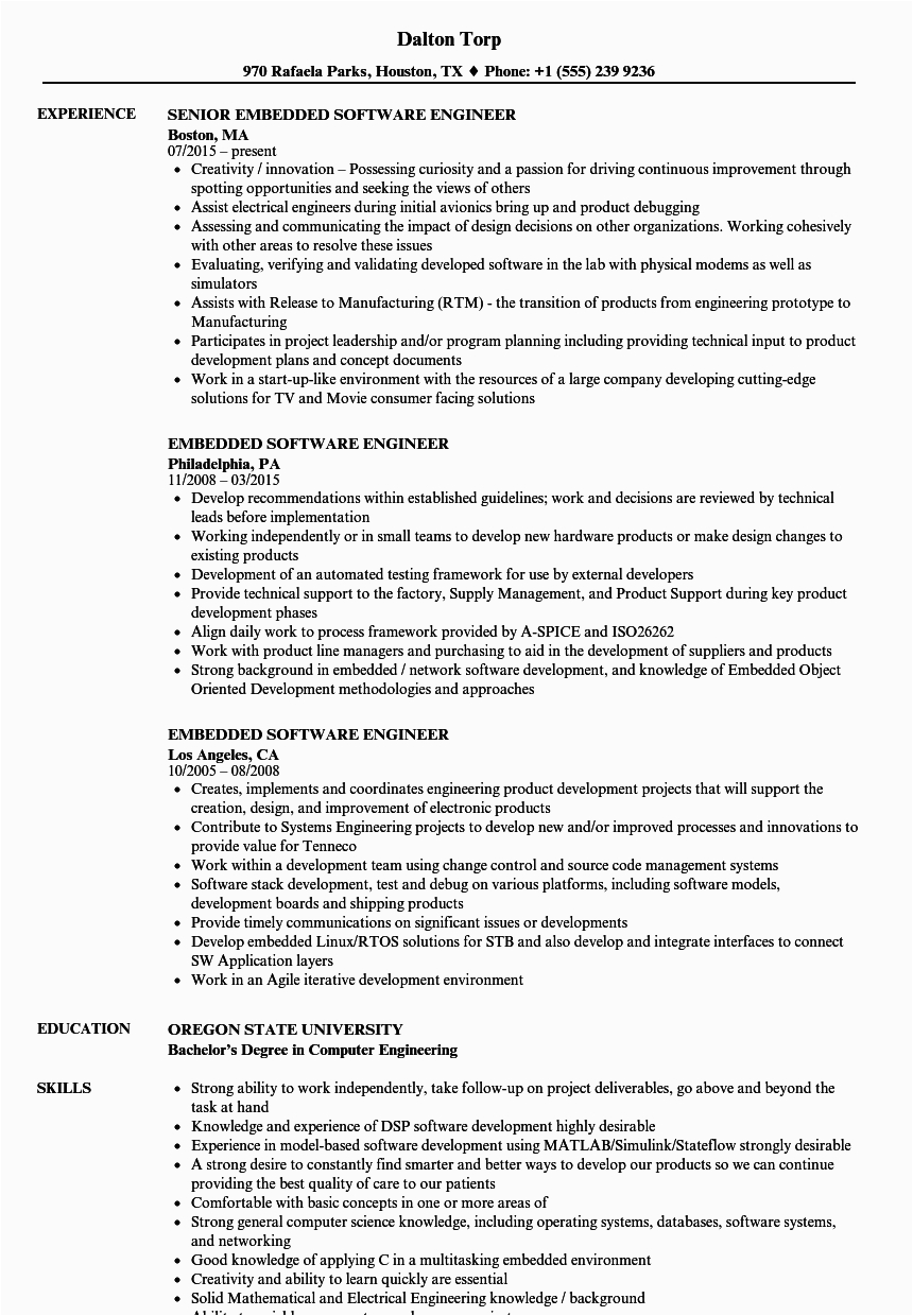 sample resume for experienced software