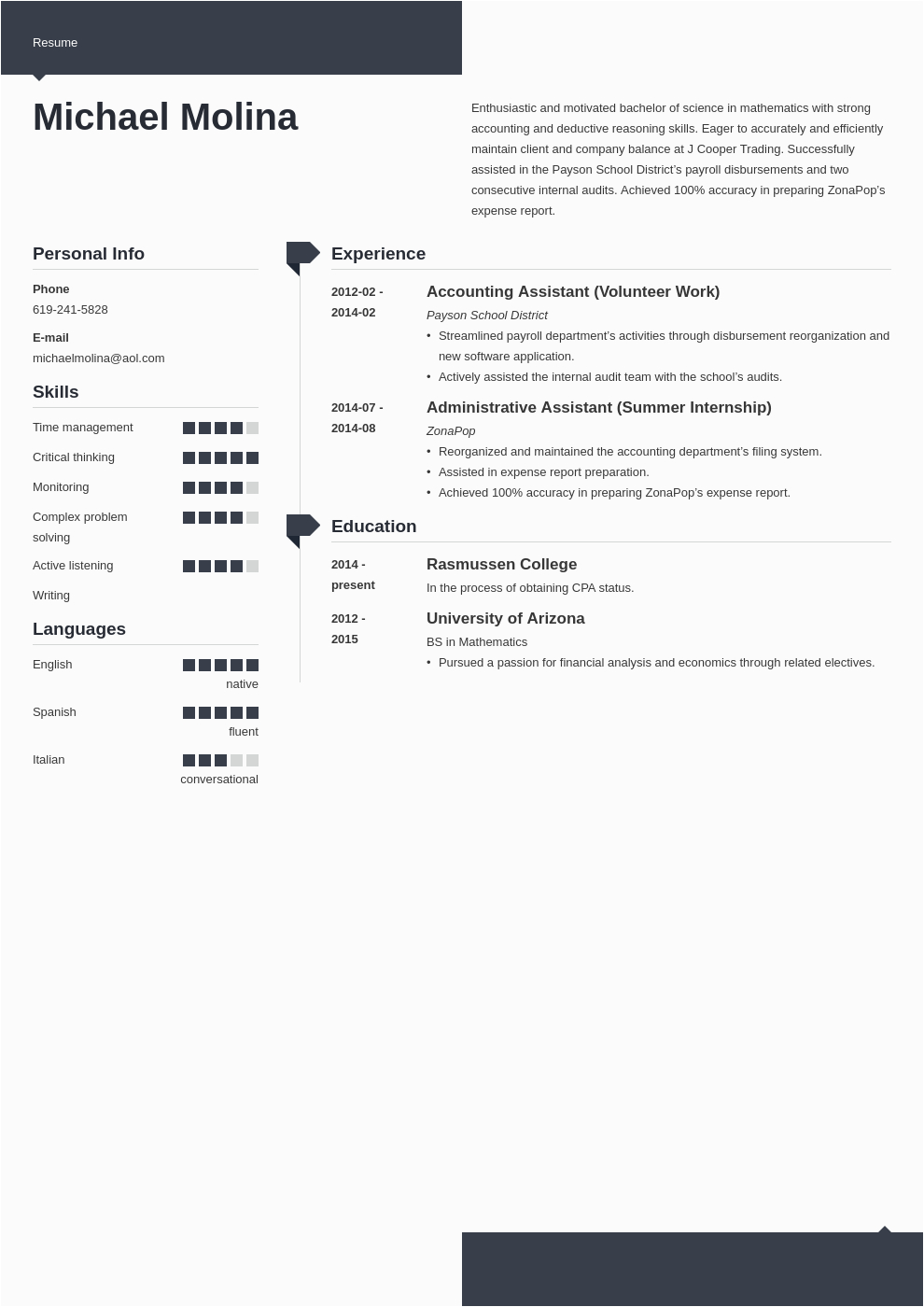 entry level accounting resume example