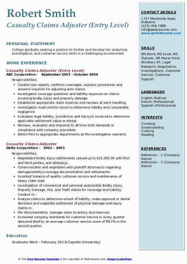 casualty claims adjuster