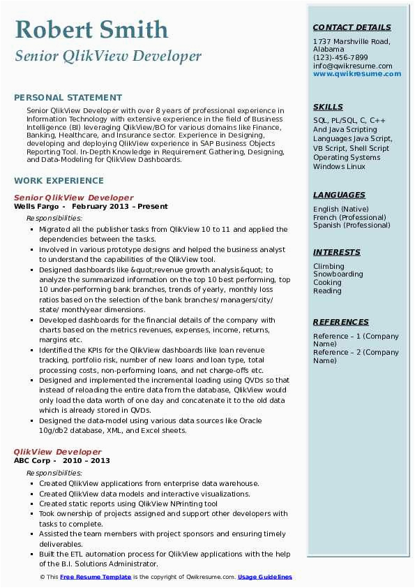 Sample Resume for Experienced Qlikview Developer Qlikview Developer Resume Samples