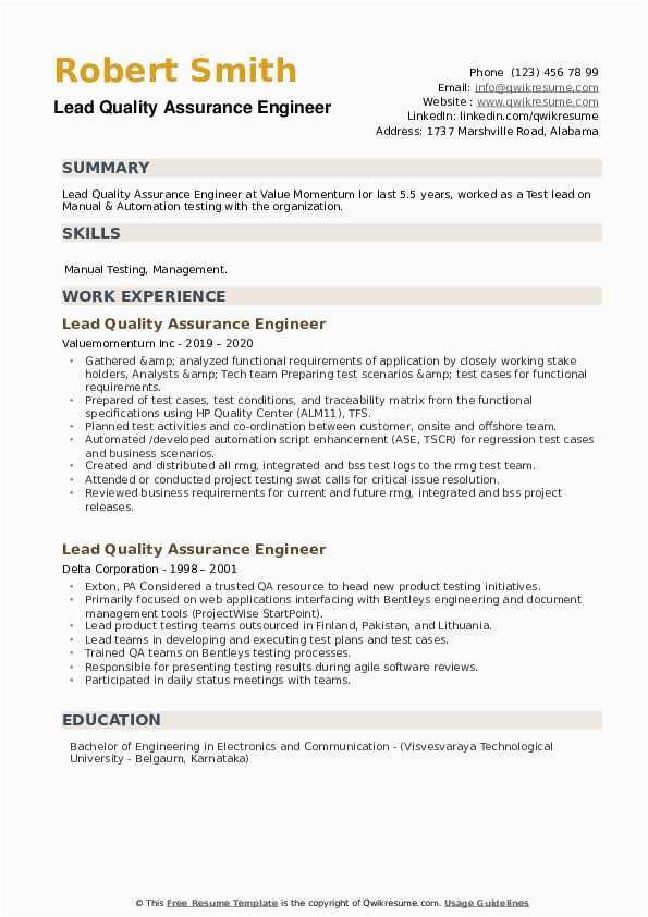 lead quality assurance engineer
