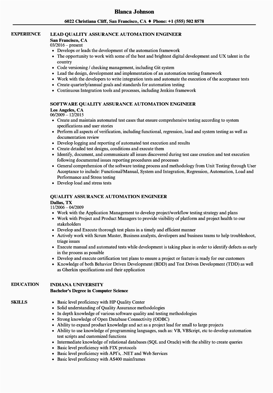 quality assurance engineer resume