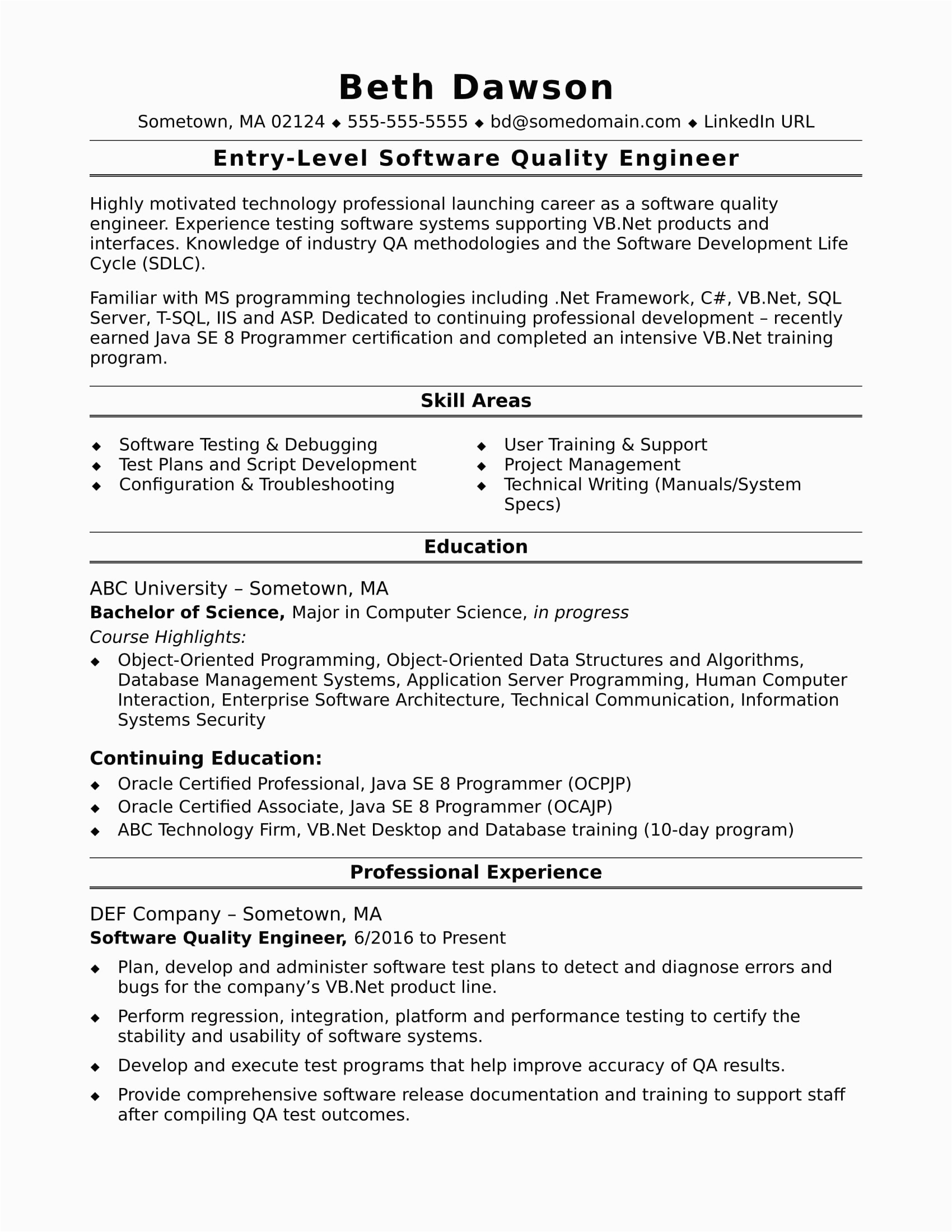 sample resume quality engineer entry level