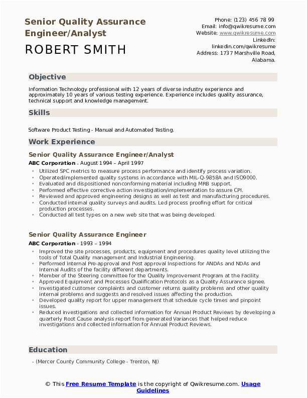 senior quality assurance engineer