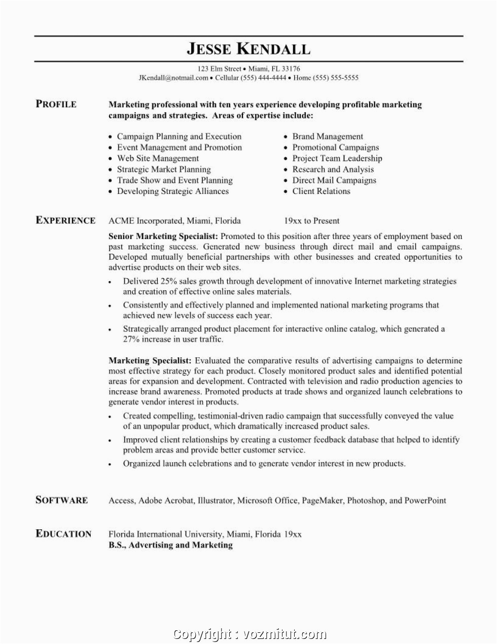 best sample resume for experienced marketing professional