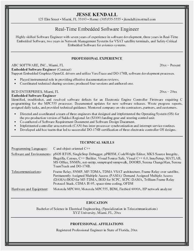 resume for experienced software developer
