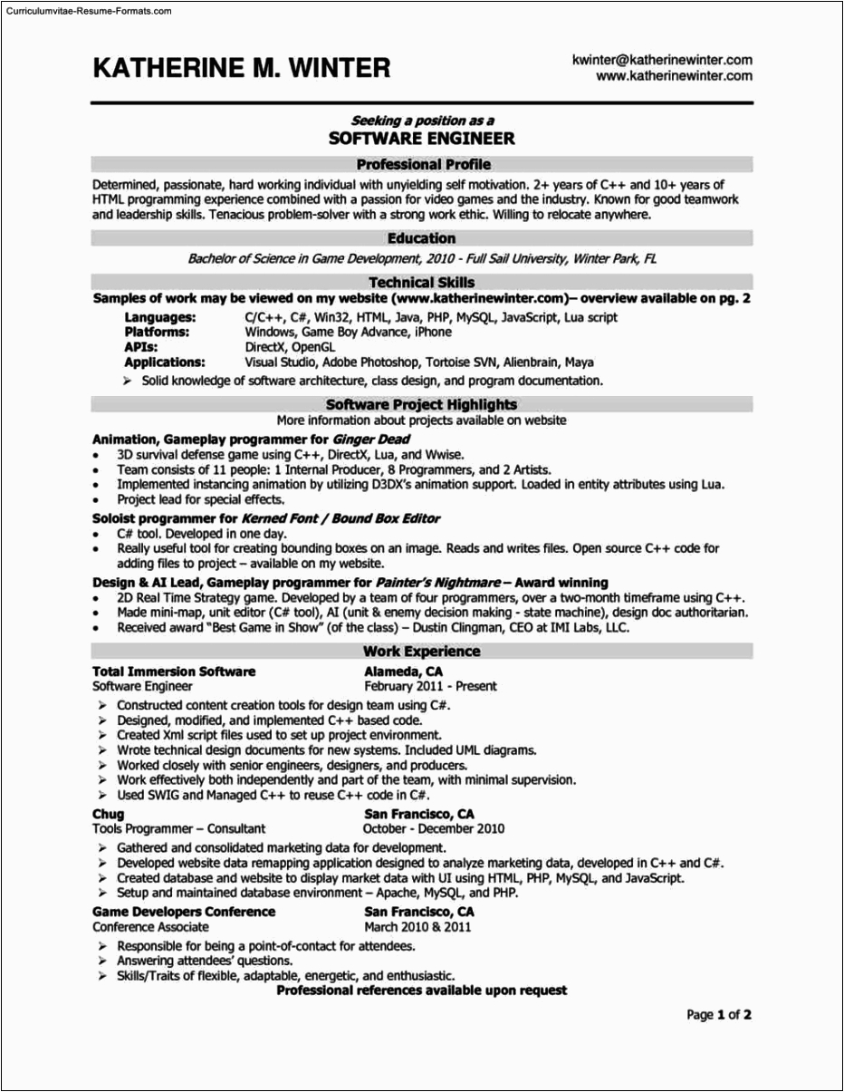 Sample Resume for Experienced software Engineer Free Download Resume Templates for software Engineer Free Samples