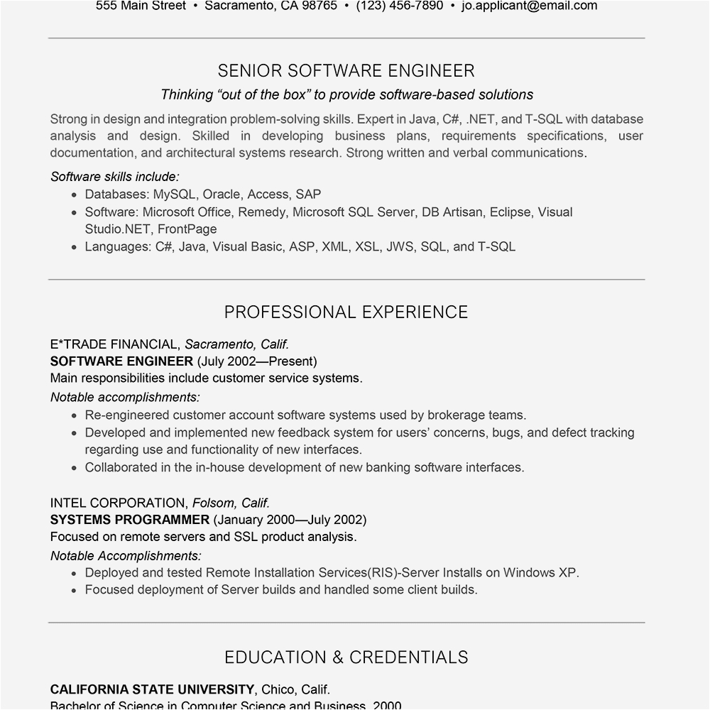 example of a software engineer resume