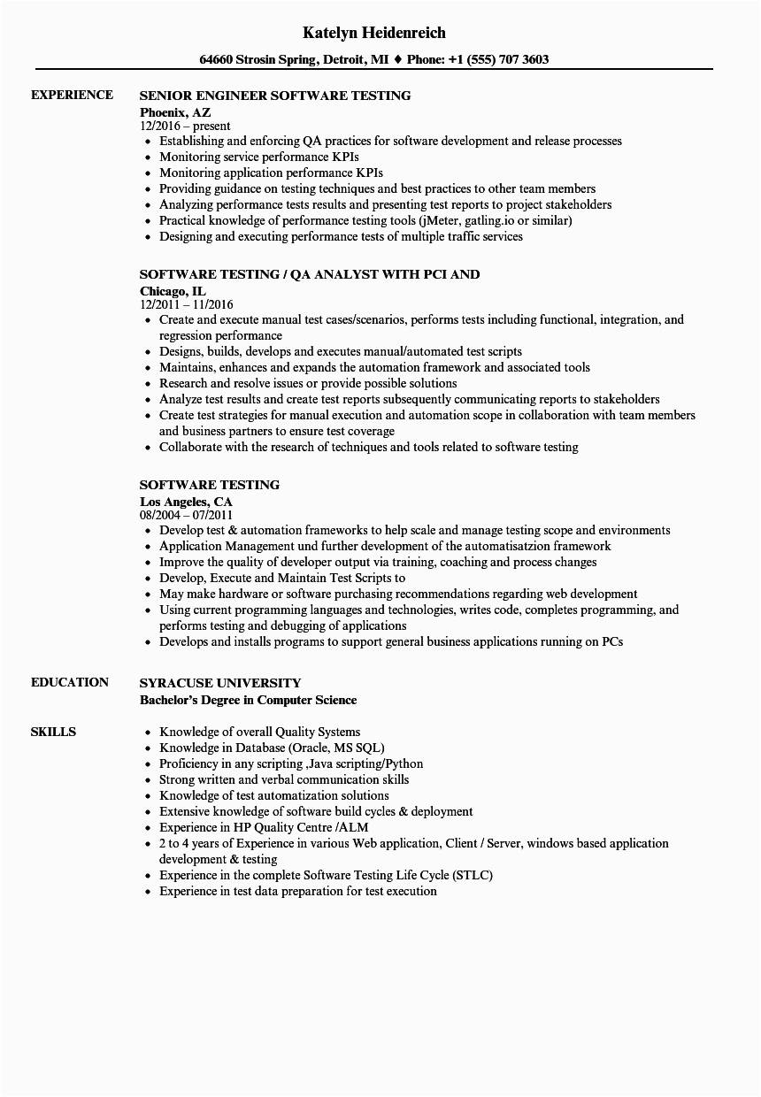 sample resume for experienced software tester