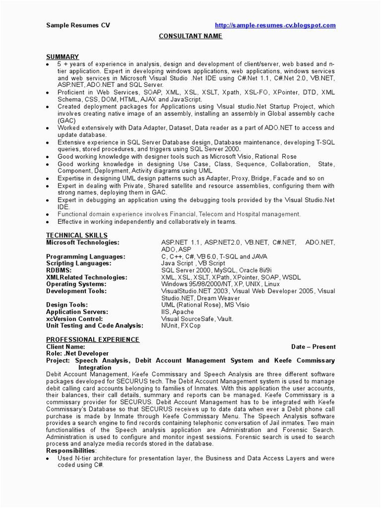 Sample Resume for Experienced Sql Server Developer Dot Net Developer Net Developer Sample Resume Cv