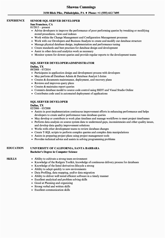 good resume template for sql developer