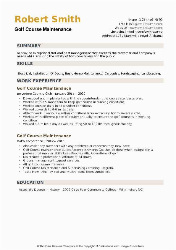 Sample Resume for Golf Course Maintenance Golf Course Maintenance Resume Samples