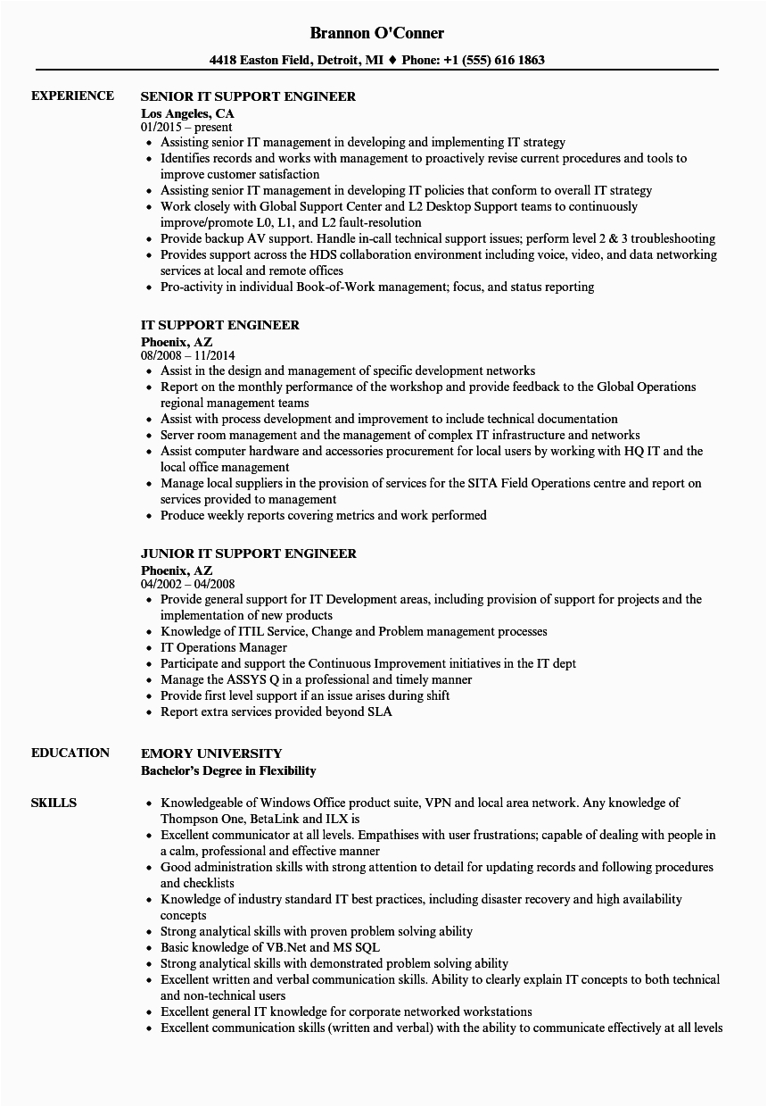 Sample Resume for L1 Support Engineer L1 Support Engineer Resume Briefkopf Beispiele