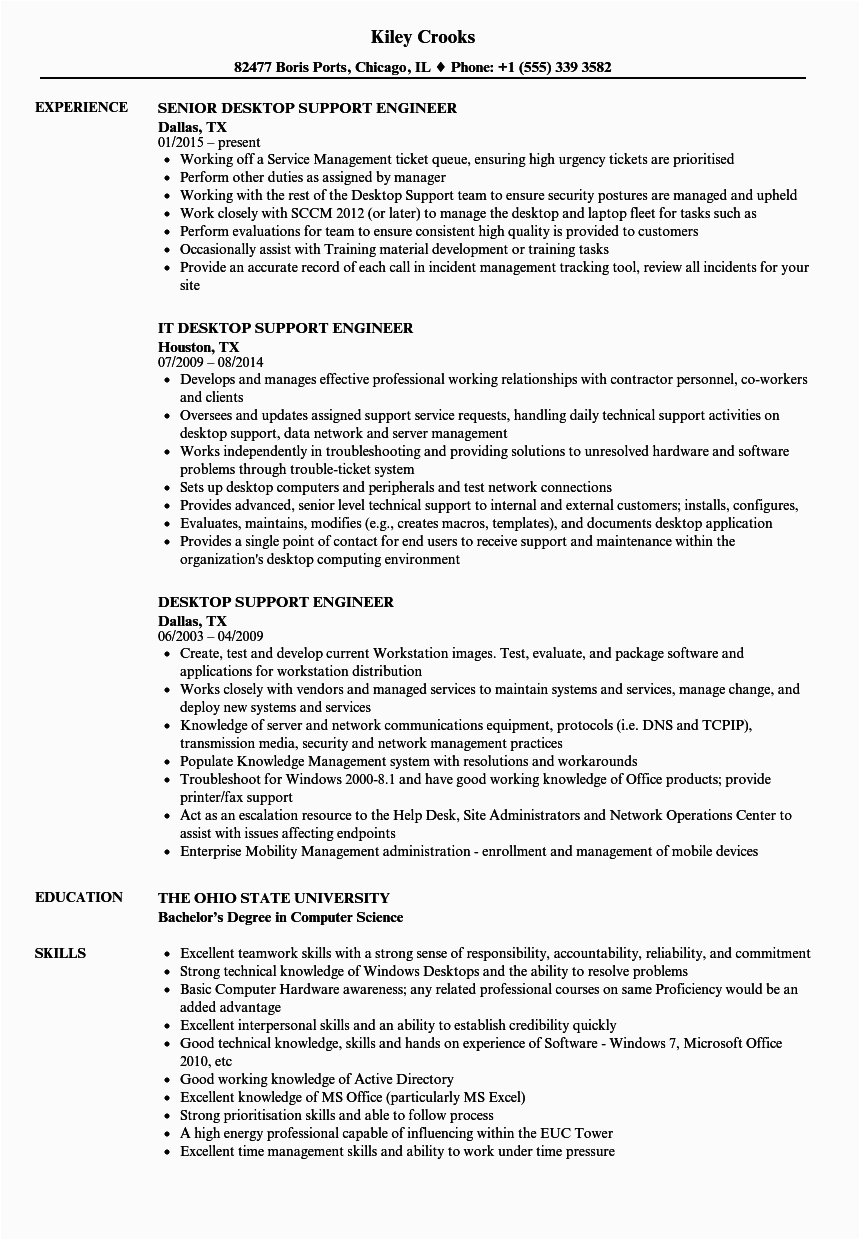l1 support engineer resume
