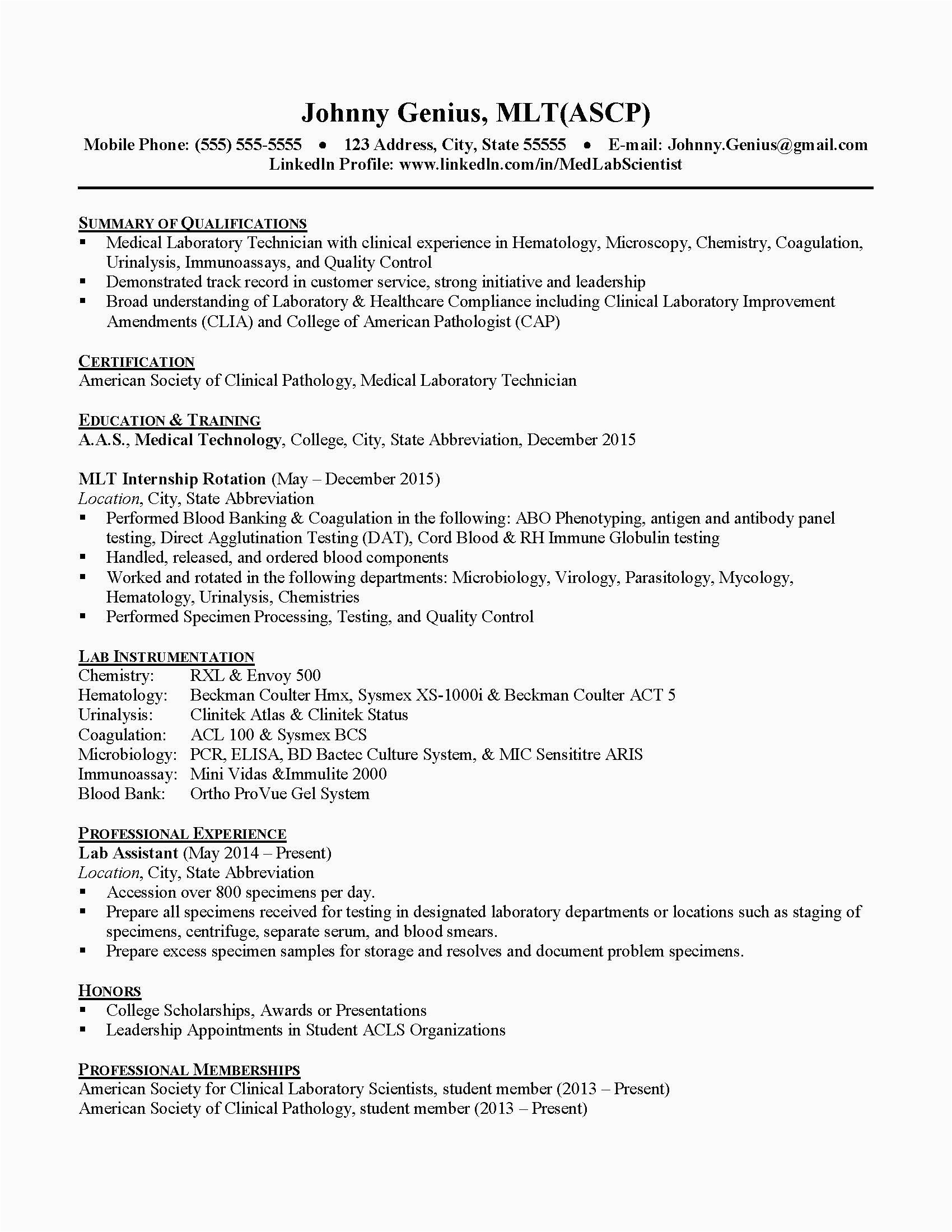 medical technology sample resume for medical technologist fresh graduate