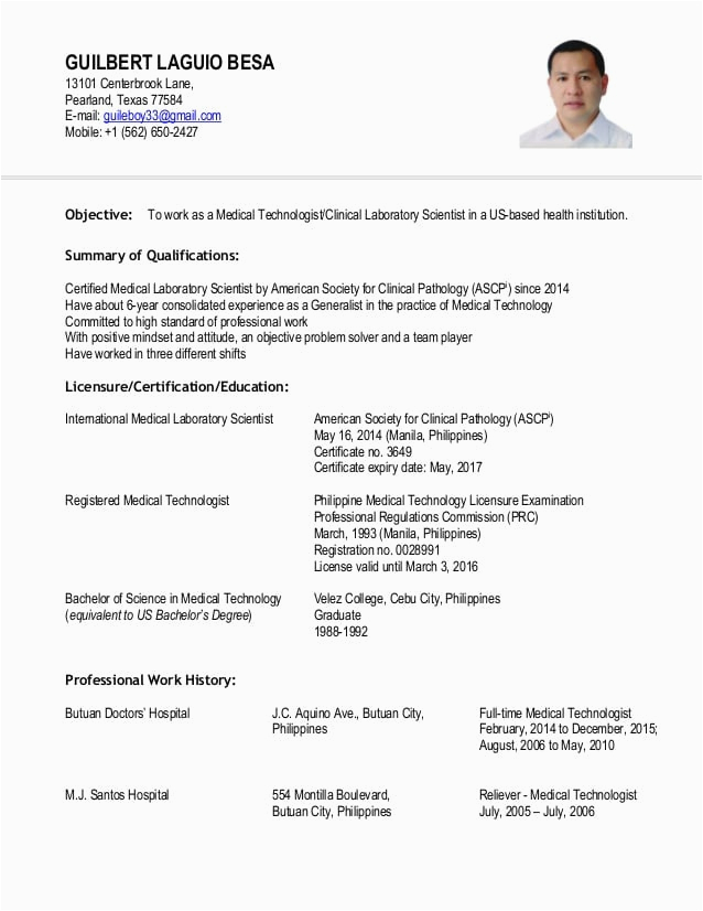 Sample Resume for Medical Technologist Fresh Graduate Philippines Medtech Resume Sample Philippines Fresh Graduate Best