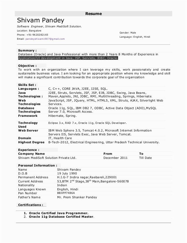 Sample Resume for Net Developer with 2 Year Experience Sample Resume for 2 Years Experienced Java Developer