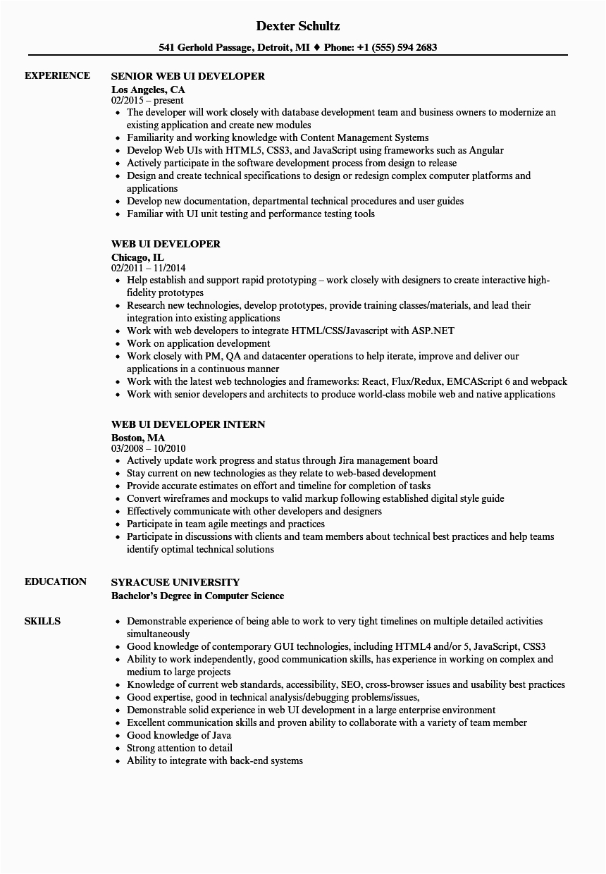 two years experience resume sample
