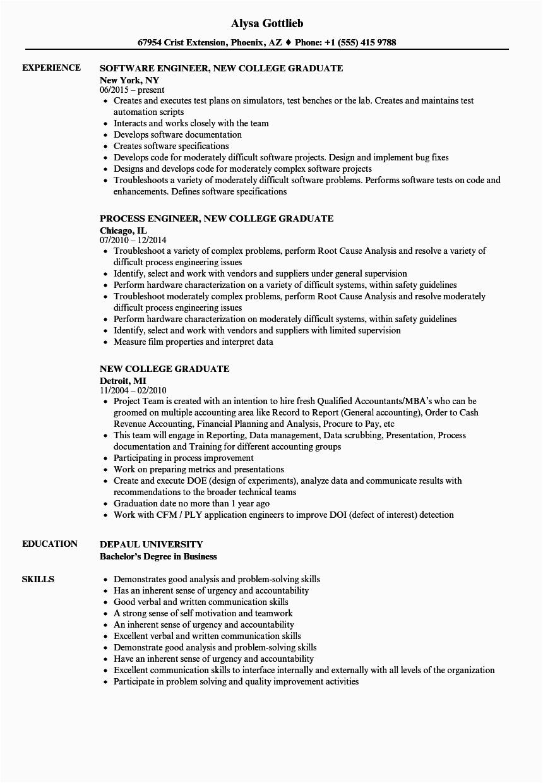 resume example college graduate