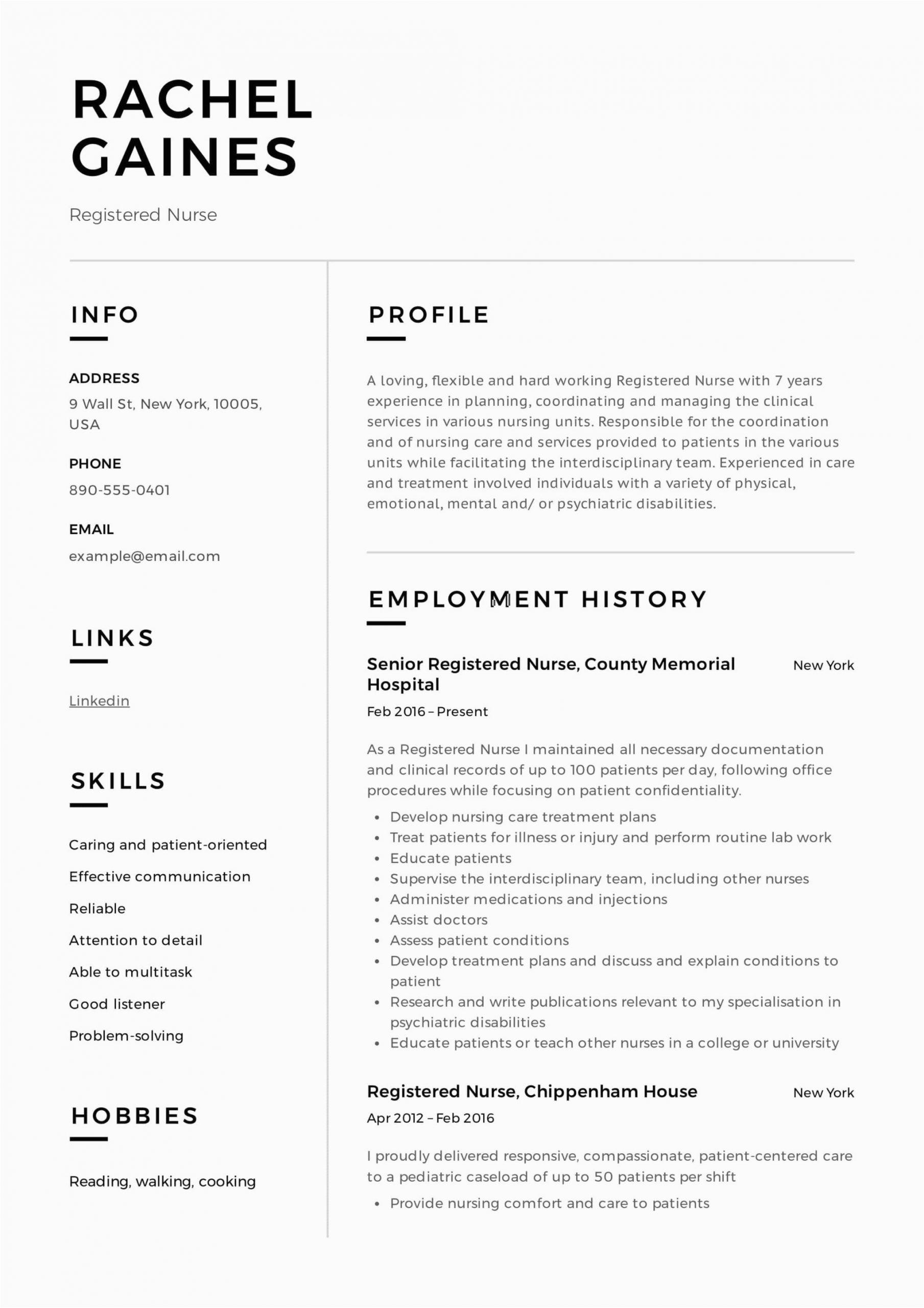 Sample Resume for Newly Registered Nurses Registered Nurse Resume Sample & Writing Guide