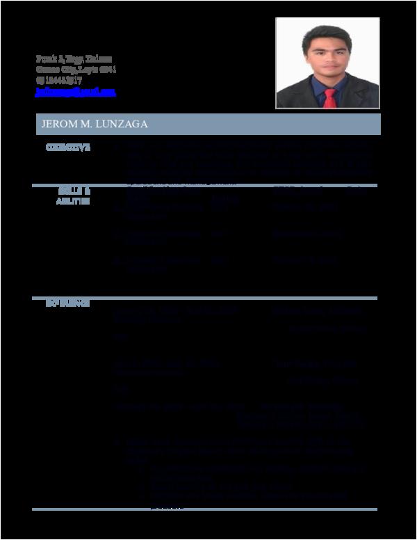 resume for ojt puter science