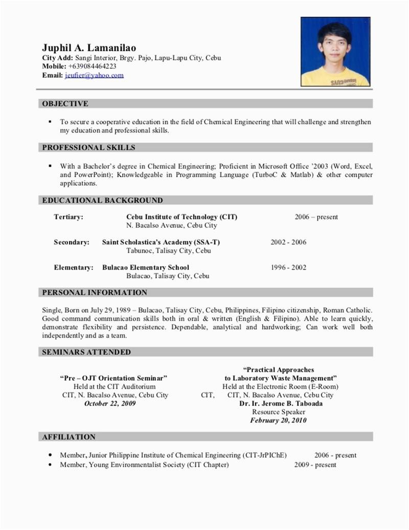 resume sample for ojt 5459