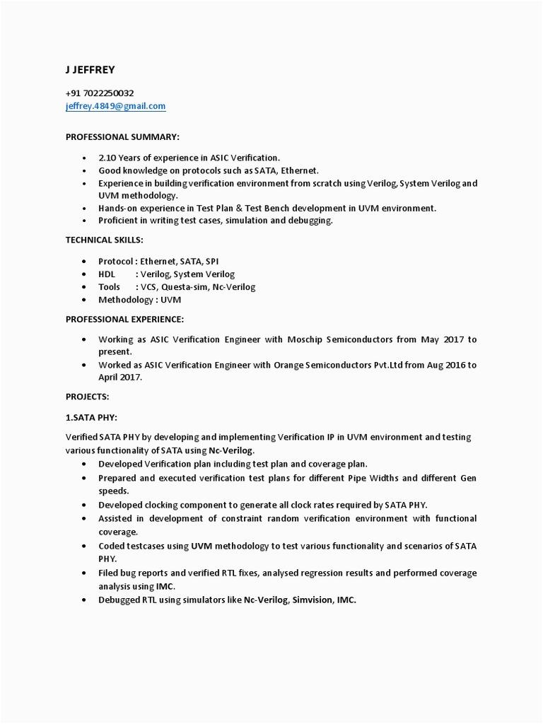 asic verification engineer resume
