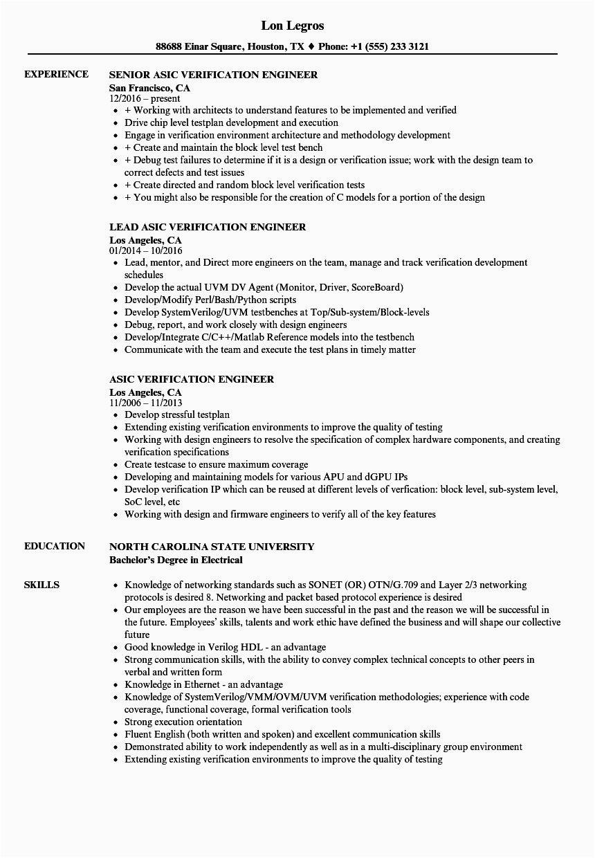 Sample Resume for Vlsi Verification Engineer Resume format Vlsi Design Engineer Resume format