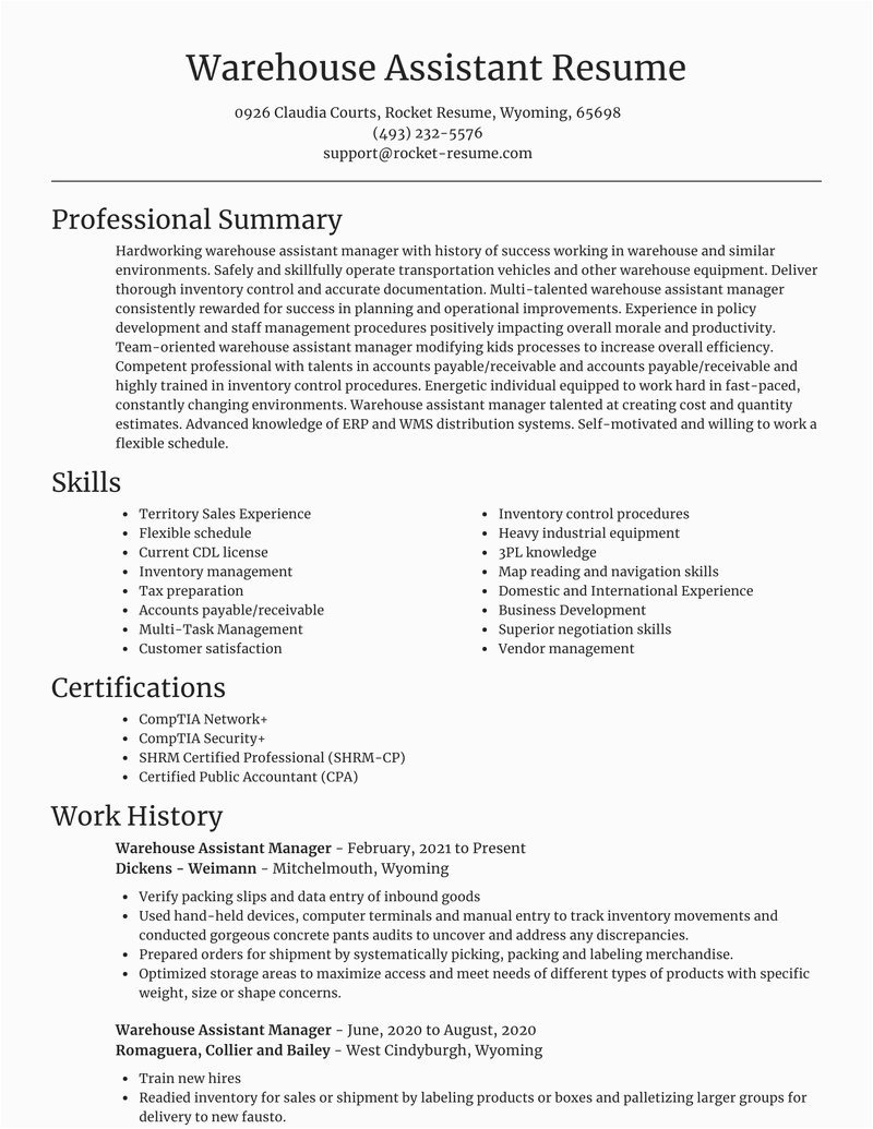 Sample Resume for Warehouse assistant Manager Warehouse assistant Manager Resumes